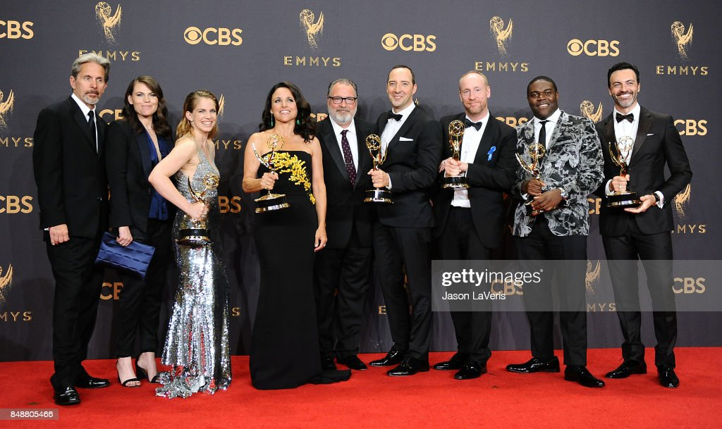 Actors Gary Cole, Clea DuVall, Anna Chlumsky, Julia Louis-Dreyfus, Kevin Dunn, Tony Hale, Matt Walsh, Sam Richardson, and Reid Scott, winners of the award for Outstanding Comedy Series for 'Veep,' pose in the press room at the 69th annual Primetime Emmy Awards at Microsoft Theater on September 17, 2017 in Los Angeles, California.