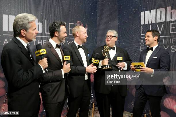 Actors Gary Cole Reid Scott Matt Walsh producer David Mandel winners of the award for Outstanding Comedy Series for 'Veep' and host Dave Karger...