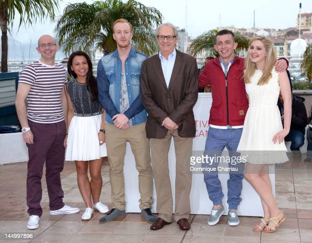 Actors Gary Maitland Jasmin Riggins William Ruane director Ken Loach actors Paul Brannigan and Siobhan Reilly pose at 'The Angels' Share Photocall'...