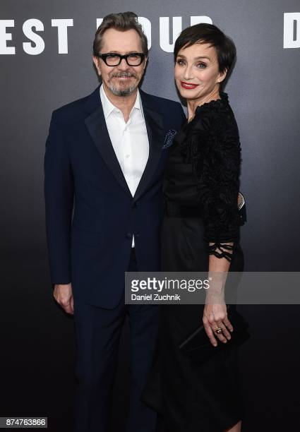 Actors Gary Oldman and Kristin Scott Thomas attend the 'Darkest Hour' New York Premiere at Paris Theatre on November 15 2017 in New York City