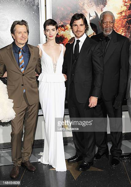 Actors Gary Oldman Anne Hathaway Christian Bale and Morgan Freeman attend 'The Dark Knight Rises' New York Premiere at AMC Lincoln Square Theater on...