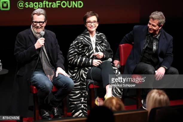 Actors Gary Oldman Kristin Scott Thomas and Ben Mendelsohn speak on stage during SAGAFTRA Foundation Conversations 'Darkest Hour' at SAGAFTRA...