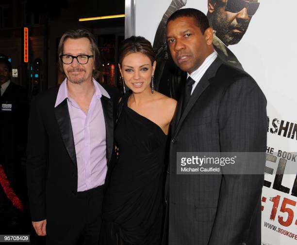 Actors Gary Oldman Mila Kunis and Denzel Washington arrive at 'The Book Of Eli' premiere held at Grauman's Chinese Theatre on January 11 2010 in...