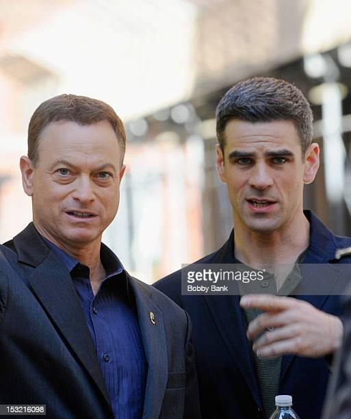Actors Gary Sinise and Eddie Cahill filming on location for 'CSI New York' on October 1 2012 in New York City