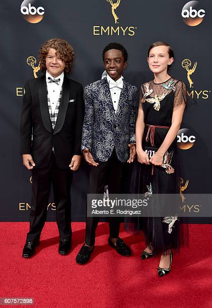 Actors Gaten Matarazzo Caleb McLaughlin and Millie Bobby Brown attend the 68th Annual Primetime Emmy Awards at Microsoft Theater on September 18 2016...
