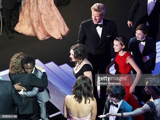 Actors Gaten Matarazzo Caleb McLaughlin Winona Ryder Matthew Modine Millie Bobby Brown Finn Wolfhard and Noah Schnapp during The 23rd Annual Screen...