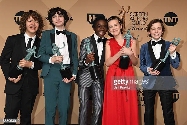 Actors Gaten Matarazzo Finn Wolfhard Caleb McLaughlin Millie Bobby Brown and Noah Schapp winners of the Outstanding Ensemble in a Drama Series award...