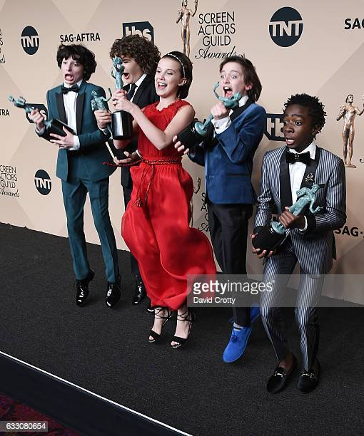 Actors Gaten Matarazzo Finn Wolfhard Millie Bobby Brown Noah Schapp and Caleb McLaughlin winners of the Outstanding Ensemble in a Drama Series award...