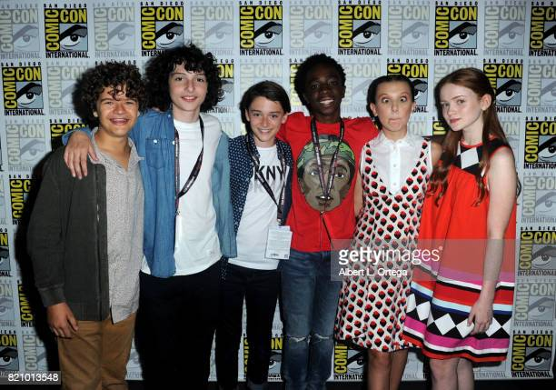 Actors Gaten Matarazzo Finn Wolfhard Noah Schnapp Caleb McLaughlin Millie Bobby Brown and Sadie Sink at ComicCon International 2017 Netflix's...