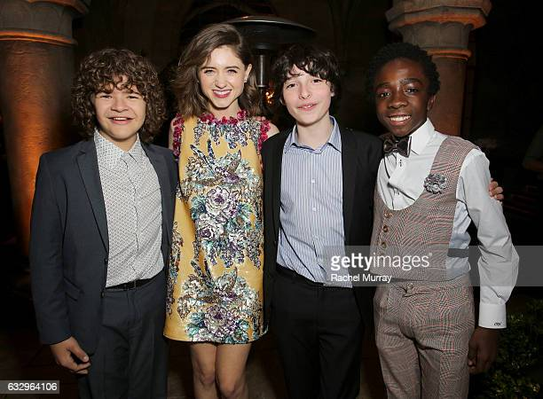 Actors Gaten Matarazzo Natalia Dyer Finn Wolfhard and Caleb McLaughlin attend the Entertainment Weekly Celebration of SAG Award Nominees sponsored by...