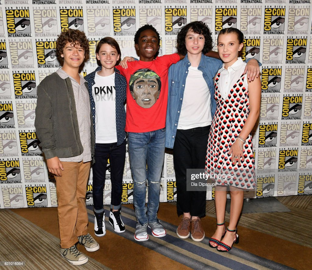 Actors Gaten Matarazzo, Noah Schnapp, Caleb McLaughlin, Finn Wolfhard and Millie Bobby Brown at Netflix's 'Stranger Things' Press line during Comic-Con International 2017 at Hilton Bayfront on July 22, 2017 in San Diego, California.