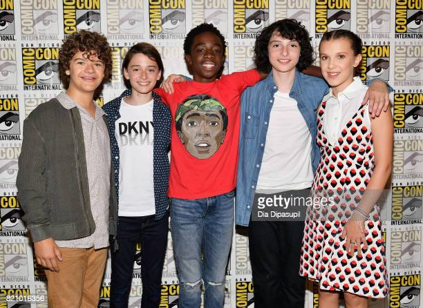 Actors Gaten Matarazzo Noah Schnapp Caleb McLaughlin Finn Wolfhard and Millie Bobby Brown at Netflix's 'Stranger Things' Press line during ComicCon...