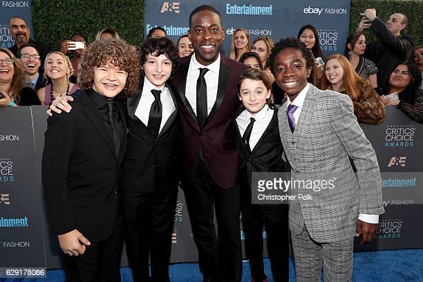 Actors Gaten Matarazzo Noah Schnapp Sterling K Brown Finn Wolfhard and Caleb McLaughlin attend The 22nd Annual Critics' Choice Awards at Barker...