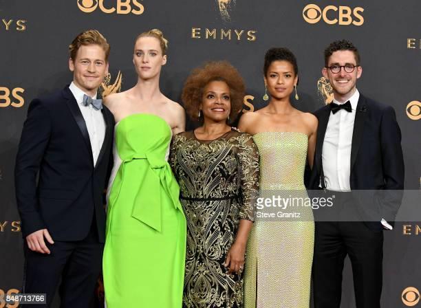 Actors Gavin Stenhouse Mackenzie Davis Denise Burse Gugu MbathaRaw and Billy Griffin Jr of the 'Black Mirror' episode 'San Junipero' winner of the...