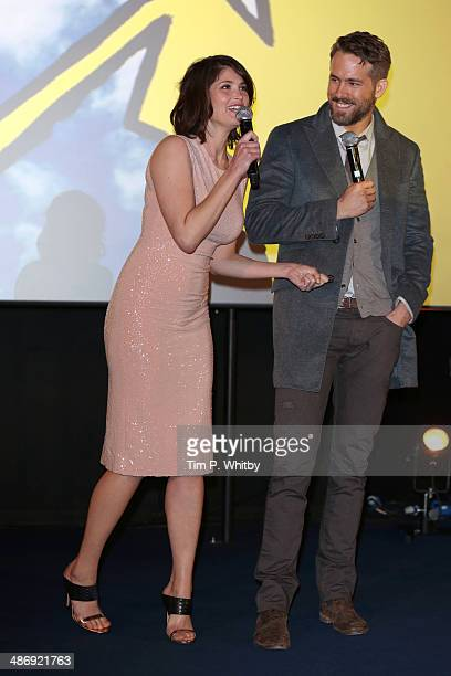 Actors Gemma Arterton and Ryan Reynolds attend 'The Voices' screening during the Sundance London Film and Music Festival 2014 at 02 Arena on April 26...