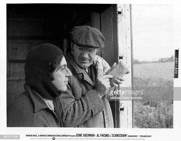 Actors Gene Hackman and Al Pacino on set for the Warner Bros movie 'Scarecrow' in 1973