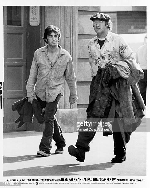 Actors Gene Hackman and Al Pacino on set for the Warner Bros movie 'Scarecrow' in 1973