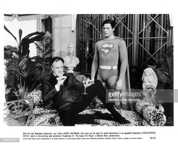 Actors Gene Hackman and Christopher Reeve in a scene from the Warner Bros movie 'Superman IV The Quest for Peace' circa 1987