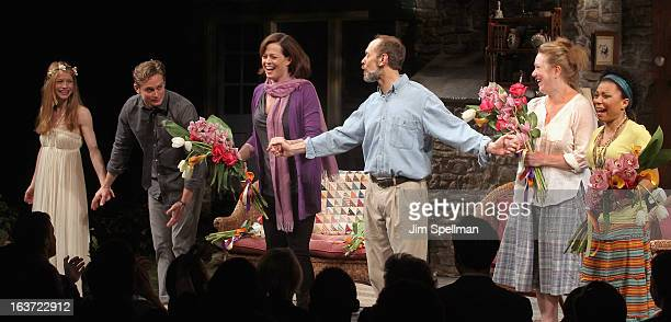 Actors Genevieve Angelson Billy Magnussen Sigourney Weaver David Hyde Pierce Kristine Nielsen and Shalita Grant attend the 'Vanya And Sonia And Masha...