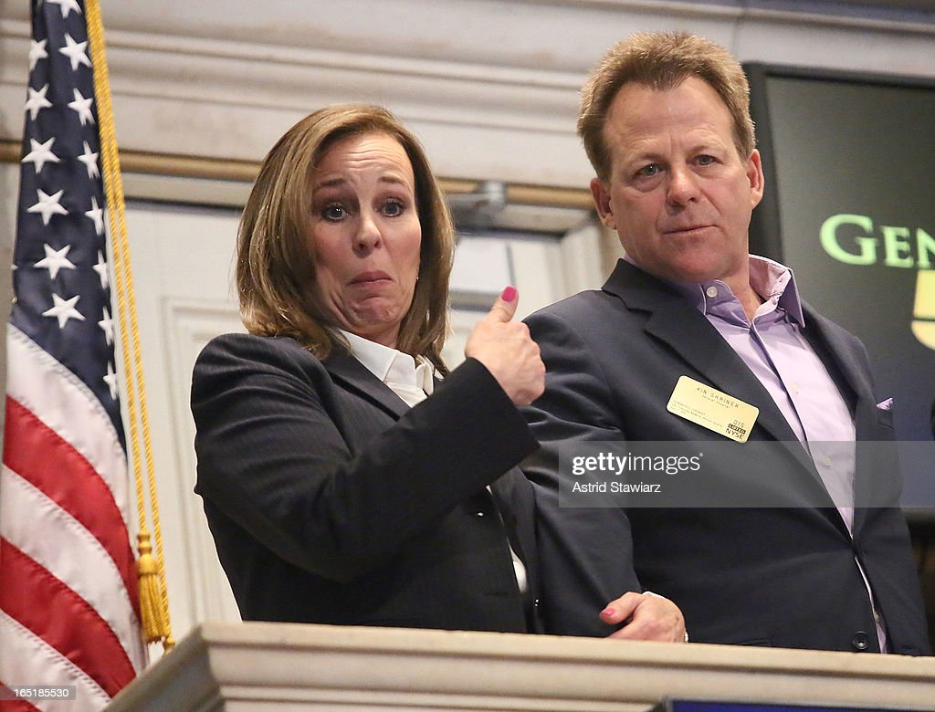Actors <a gi-track='captionPersonalityLinkClicked' href=/galleries/search?phrase=Genie+Francis&family=editorial&specificpeople=1065309 ng-click='$event.stopPropagation()'>Genie Francis</a> and Kin Shriner of ABC's soap opera General Hospital ring the opening bell at the New York Stock Exchange on April 1, 2013 in New York City.