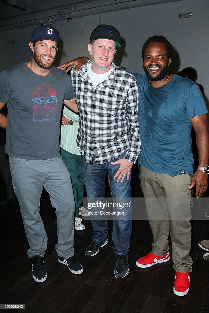 Actors Geoff Stults and Michael Rapaport and musician Selema Masakela attend the screening of 'Alekesam' at Sonos Studio on August 22, 2012 in Los Angeles, California.