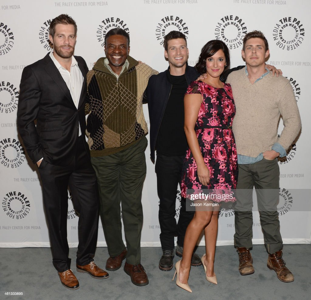 Actors Geoff Stults Keith David Parker Young Angelique Cabral and Chris Lowell attend The Paley Center For Media Presents FOX's 'Enlisted' Premiere...