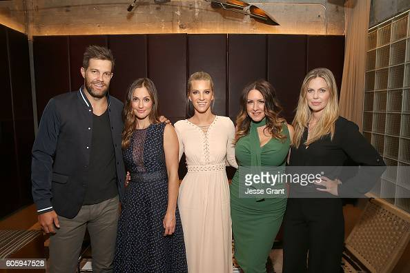 Actors Geoff Stults Minka Kelly Heather Morris Joely Fisher and Kristin Bauer van Straten attend the screening prereception of Discovery Impact's...
