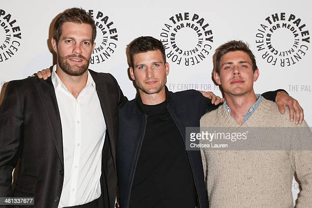 Actors Geoff Stults Parker Young and Chris Lowell attend the 'Enlisted' premiere and screening at The Paley Center for Media on January 7 2014 in...