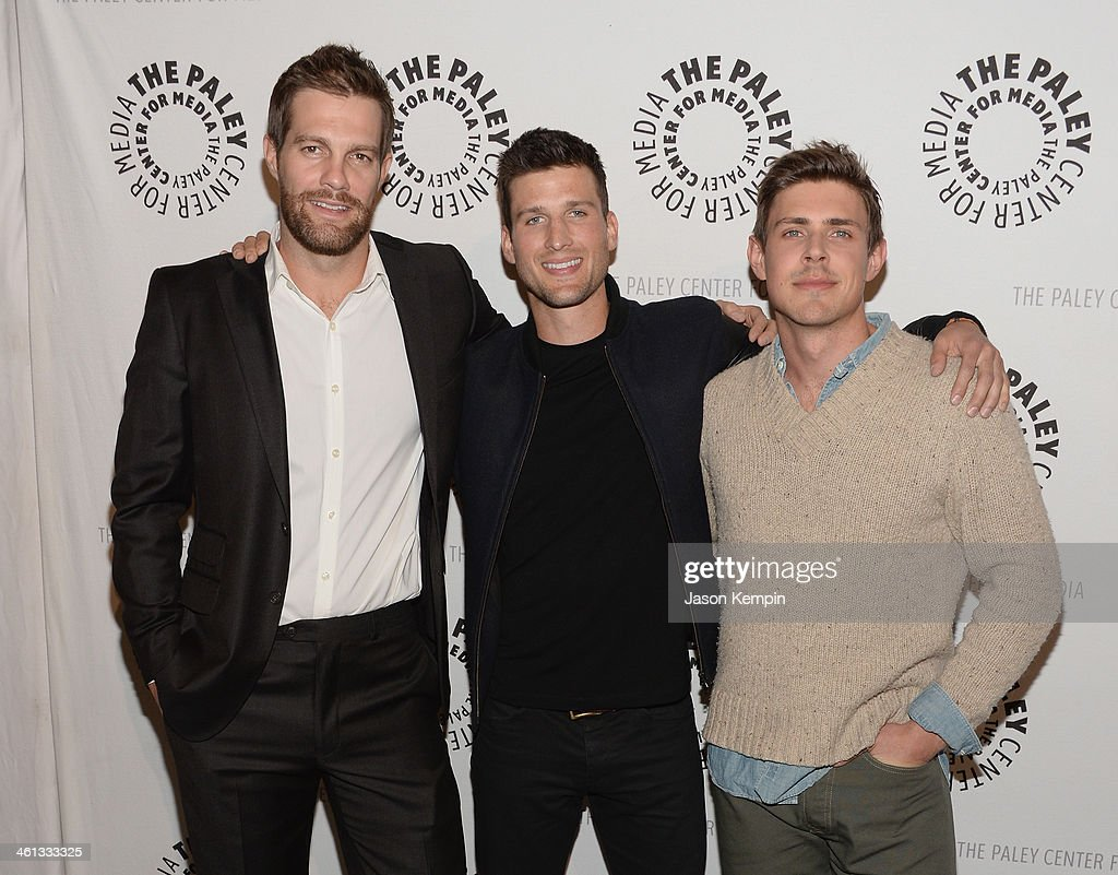 Actors Geoff Stults Parker Young and Chris Lowell attend The Paley Center For Media Presents FOX's 'Enlisted' Premiere And Screening at The Paley...
