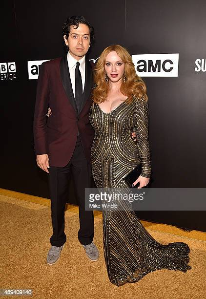 Actors Geoffrey Arend and Christina Hendricks attend the AMC BBC America IFC And SundanceTV Emmy After Party at BOA Steakhouse on September 20 2015...