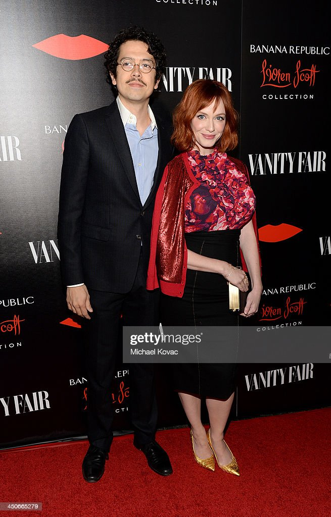 Actors Geoffrey Arend and Christina Hendricks attend the launch celebration of the Banana Republic L'Wren Scott Collection hosted by Banana Republic, L'Wren Scott and Krista Smith at Chateau Marmont on November 19, 2013 in Los Angeles, California.