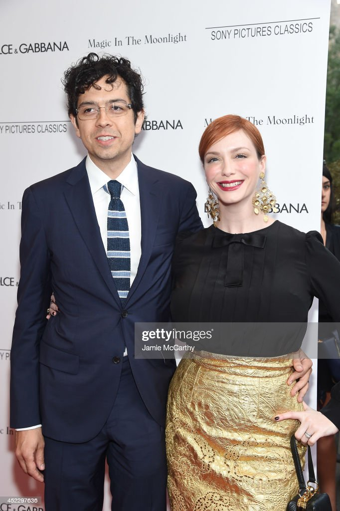 Actors <a gi-track='captionPersonalityLinkClicked' href=/galleries/search?phrase=Geoffrey+Arend&family=editorial&specificpeople=3164071 ng-click='$event.stopPropagation()'>Geoffrey Arend</a> and <a gi-track='captionPersonalityLinkClicked' href=/galleries/search?phrase=Christina+Hendricks&family=editorial&specificpeople=2239736 ng-click='$event.stopPropagation()'>Christina Hendricks</a> attend the 'Magic In The Moonlight' premiere at the Paris Theater on July 17, 2014 in New York City.