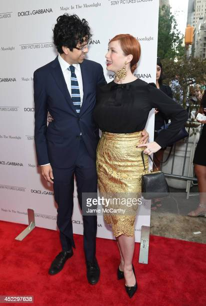 Actors Geoffrey Arend and Christina Hendricks attend the 'Magic In The Moonlight' premiere at the Paris Theater on July 17 2014 in New York City