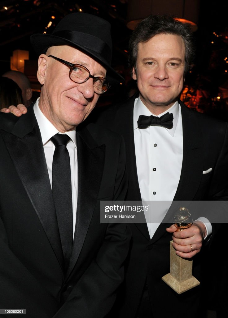 Actors <a gi-track='captionPersonalityLinkClicked' href=/galleries/search?phrase=Geoffrey+Rush&family=editorial&specificpeople=201849 ng-click='$event.stopPropagation()'>Geoffrey Rush</a> (L) and <a gi-track='captionPersonalityLinkClicked' href=/galleries/search?phrase=Colin+Firth&family=editorial&specificpeople=201620 ng-click='$event.stopPropagation()'>Colin Firth</a> attend Relativity Media and The Weinstein Company's 2011 Golden Globe Awards After Party presented by Marie Claire held at The Beverly Hilton hotel on January 16, 2011 in Beverly Hills, California.