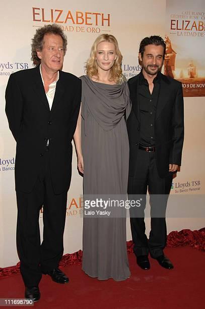 Actors Geoffrey Rush Cate Blanchett and Jordi Molla attend 'Elizabeth The Golden Age' premiere at Palacio de la Musica Cinema on October 22 2007 in...
