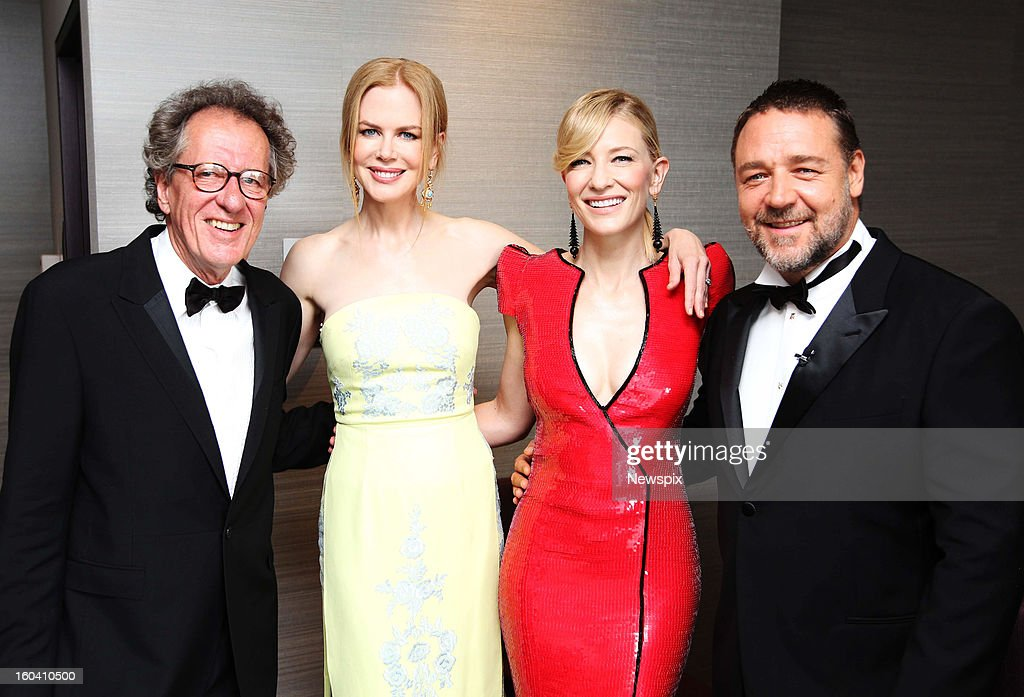 Actors <a gi-track='captionPersonalityLinkClicked' href=/galleries/search?phrase=Geoffrey+Rush&family=editorial&specificpeople=201849 ng-click='$event.stopPropagation()'>Geoffrey Rush</a>, <a gi-track='captionPersonalityLinkClicked' href=/galleries/search?phrase=Nicole+Kidman&family=editorial&specificpeople=156404 ng-click='$event.stopPropagation()'>Nicole Kidman</a>, <a gi-track='captionPersonalityLinkClicked' href=/galleries/search?phrase=Cate+Blanchett&family=editorial&specificpeople=201621 ng-click='$event.stopPropagation()'>Cate Blanchett</a> and <a gi-track='captionPersonalityLinkClicked' href=/galleries/search?phrase=Russell+Crowe&family=editorial&specificpeople=202609 ng-click='$event.stopPropagation()'>Russell Crowe</a> pose backstage at the 2013 Australian Academy of Cinema and Television Arts (AACTA) Awards held at The Star on January 30, 2013 in Sydney, New South Wales, Australia.
