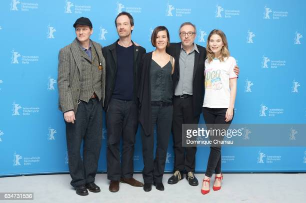 Actors Georg Friedrich Joerg Hartmann Pia Hierzegger director Josef Hader and atress Nora von Waldstaetten attend the 'Wild Mouse' photo call during...