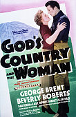 Actors George Brent as Steve Russett and Beverly Roberts as Jo Barton on a poster for the Warner Bros film 'God's Country and the Woman' directed by...