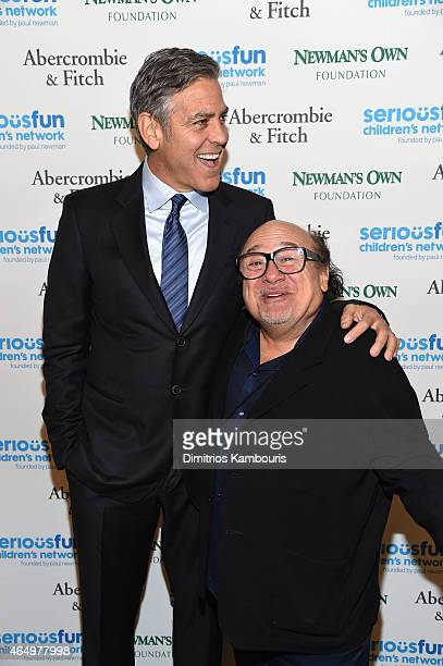 Actors George Clooney and Danny DeVito attend SeriousFun Children's Network's New York City Gala at Avery Fisher Hall Lincoln Center on March 2 2015...