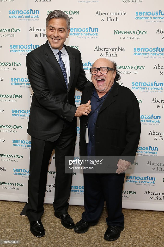 Actors George Clooney and Danny DeVito attend SeriousFun Children's Network 2015 New York Gala: An Evening of SeriousFun Celebrating the Legacy of Paul Newman at Avery Fisher Hall at Lincoln Center for the Performing Arts on March 2, 2015 in New York City.