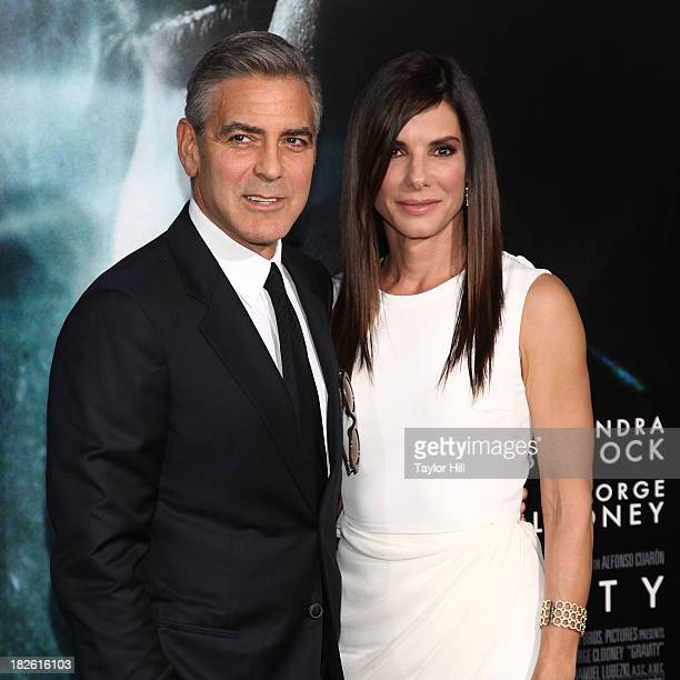 Actors George Clooney and Sandra Bullock attend the 'Gravity' premiere at AMC Lincoln Square Theater on October 1 2013 in New York City