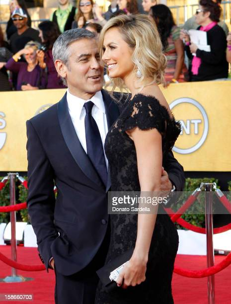 Actors George Clooney and Stacy Keibler arrive at the 18th Annual Screen Actors Guild Awards held at The Shrine Auditorium on January 29 2012 in Los...