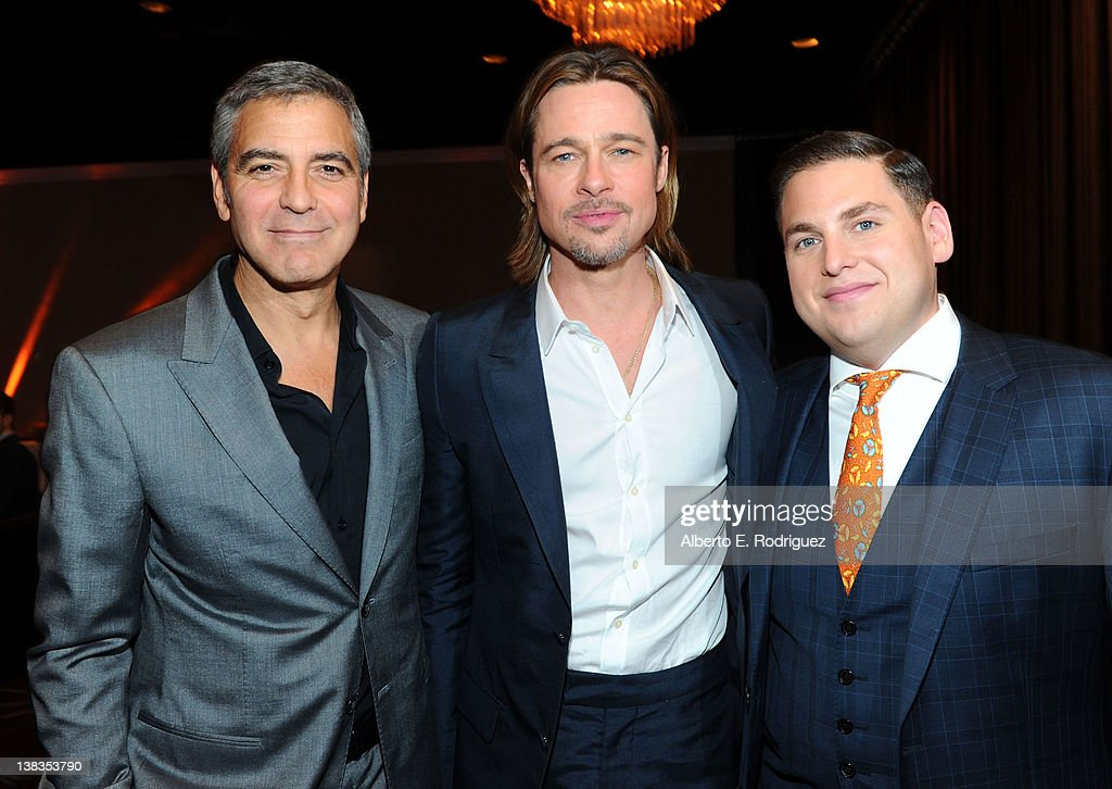Actors George Clooney Brad Pitt and Jonah Hill attend the 84th Academy Awards Nominations Luncheon at The Beverly Hilton hotel on February 6 2012 in...
