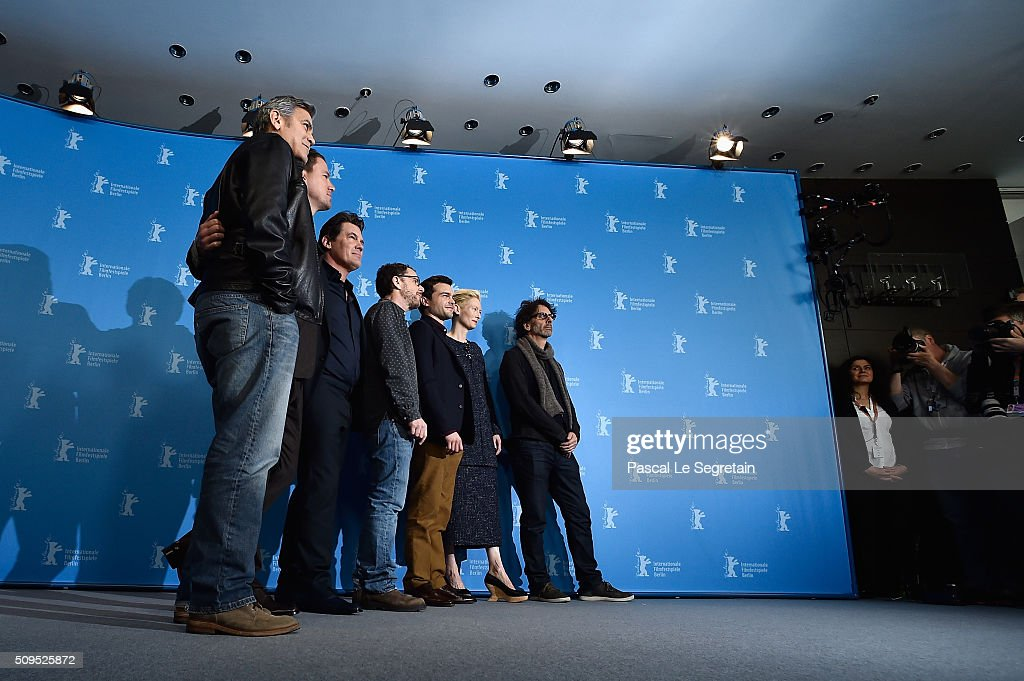 Actors George Clooney, Channing Tatum, Josh Brolin, director Ethan Coen, actors Alden Ehrenreich, Tilda Swinton and director Joel Coen attend the 'Hail, Caesar!' photo call during the 66th Berlinale International Film Festival Berlin at Grand Hyatt Hotel on February 11, 2016 in Berlin, Germany.