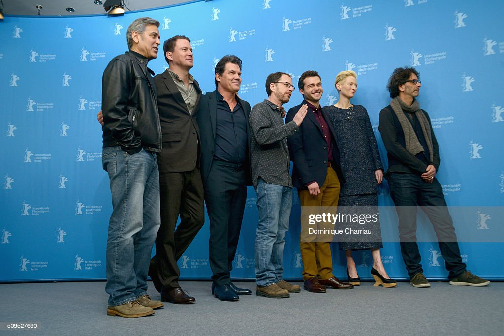 Actors <a gi-track='captionPersonalityLinkClicked' href=/galleries/search?phrase=George+Clooney&family=editorial&specificpeople=202529 ng-click='$event.stopPropagation()'>George Clooney</a>, <a gi-track='captionPersonalityLinkClicked' href=/galleries/search?phrase=Channing+Tatum&family=editorial&specificpeople=549548 ng-click='$event.stopPropagation()'>Channing Tatum</a>, <a gi-track='captionPersonalityLinkClicked' href=/galleries/search?phrase=Josh+Brolin&family=editorial&specificpeople=243198 ng-click='$event.stopPropagation()'>Josh Brolin</a>, director <a gi-track='captionPersonalityLinkClicked' href=/galleries/search?phrase=Ethan+Coen&family=editorial&specificpeople=1130888 ng-click='$event.stopPropagation()'>Ethan Coen</a>, actors <a gi-track='captionPersonalityLinkClicked' href=/galleries/search?phrase=Alden+Ehrenreich&family=editorial&specificpeople=4069445 ng-click='$event.stopPropagation()'>Alden Ehrenreich</a>, <a gi-track='captionPersonalityLinkClicked' href=/galleries/search?phrase=Tilda+Swinton&family=editorial&specificpeople=202991 ng-click='$event.stopPropagation()'>Tilda Swinton</a> and director <a gi-track='captionPersonalityLinkClicked' href=/galleries/search?phrase=Joel+Coen&family=editorial&specificpeople=4292064 ng-click='$event.stopPropagation()'>Joel Coen</a> attend the 'Hail, Caesar!' photo call during the 66th Berlinale International Film Festival Berlin at Grand Hyatt Hotel on February 11, 2016 in Berlin, Germany.