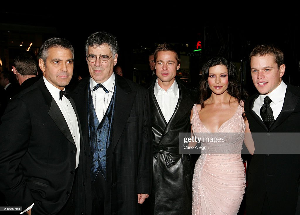 Actors <a gi-track='captionPersonalityLinkClicked' href=/galleries/search?phrase=George+Clooney&family=editorial&specificpeople=202529 ng-click='$event.stopPropagation()'>George Clooney</a>, Elliot Gould, <a gi-track='captionPersonalityLinkClicked' href=/galleries/search?phrase=Brad+Pitt+-+Actor&family=editorial&specificpeople=201682 ng-click='$event.stopPropagation()'>Brad Pitt</a>, Catherine Zeta-Jones and <a gi-track='captionPersonalityLinkClicked' href=/galleries/search?phrase=Matt+Damon&family=editorial&specificpeople=202093 ng-click='$event.stopPropagation()'>Matt Damon</a> arrive at the Warner Bros. premiere of the film 'Ocean's Twelve' at Grauman's Chinese Theatre December 8, 2004 in Hollywood, California.