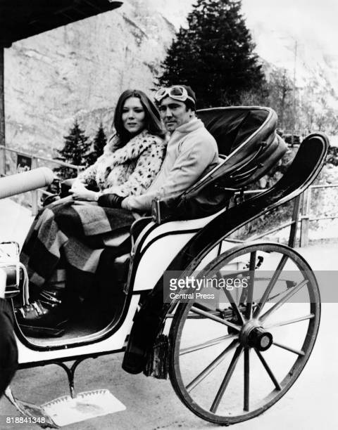 Actors George Lazenby and Diana Rigg on the set of the James Bond film 'On Her Majesty's Secret Service' at Murren Switzerland 11th December 1968