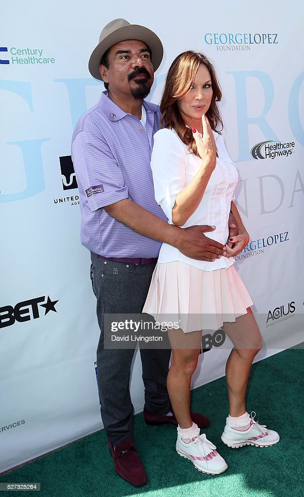 Actors George Lopez (L) and Debbe Dunning attend the Ninth Annual George Lopez Celebrity Golf Classic at Lakeside Golf Club on May 2, 2016 in Burbank, California.