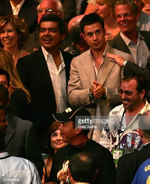 Actors George Lopez and Freddie Prinze Jr were on hand ringside to watch Oscar De La Hoya and Ricardo Mayorga battle for the World Super Welterweight...