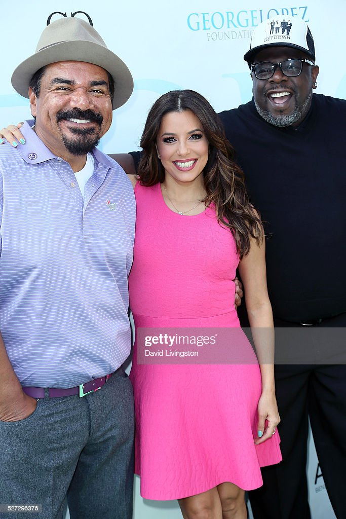 Actors George Lopez, Eva Longoria and Cedric the Entertainer attend the Ninth Annual George Lopez Celebrity Golf Classic at Lakeside Golf Club on May 2, 2016 in Burbank, California.